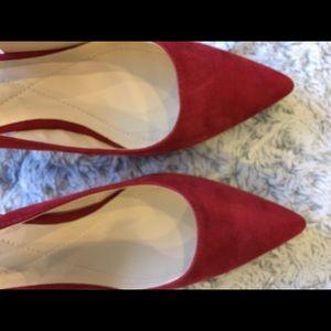 Alfani StepNFlex Red Suede Slingback Heels 8.5